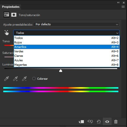 Menú desplegable para seleccionar los Tonos sobre los que realizar las modificaciones de color