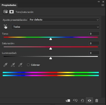 Panel de propiedades del ajuste Tono/Saturación en Photoshop