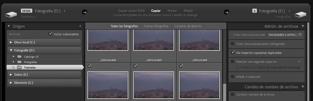 Copiar fotografías e importar