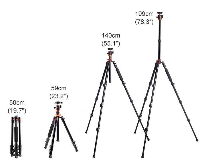 Diferentes alturas del trípode K&F Concept S210