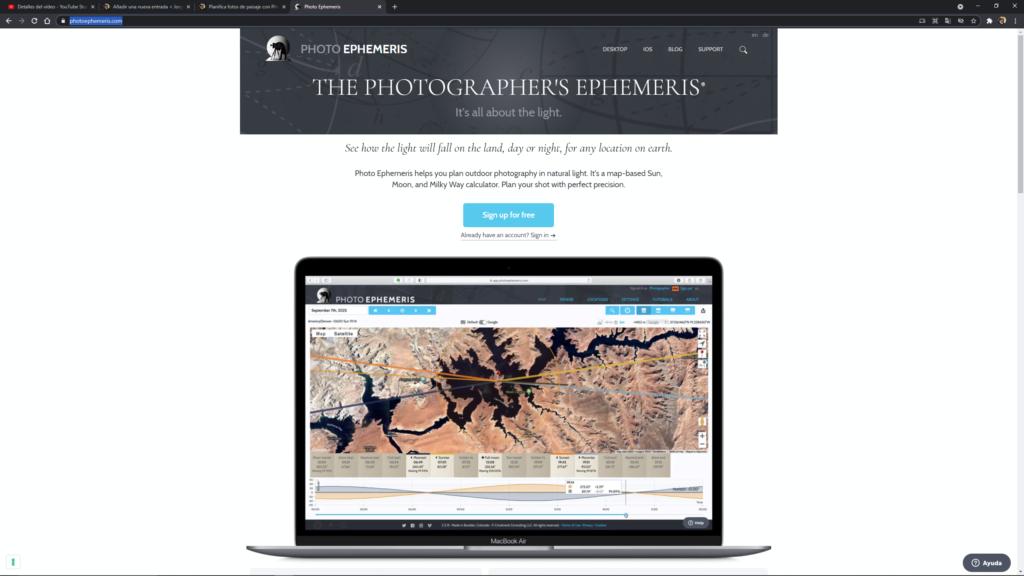 Web de Photographer's Ephemeris