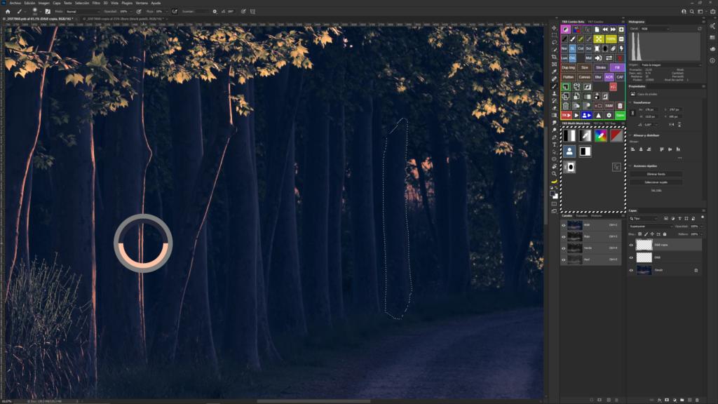 Selección de un color cálido en la propia imagen con el cuentagotas